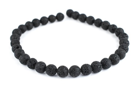 Image of Black Volcanic Lava Beads (12mm) - The Bead Chest