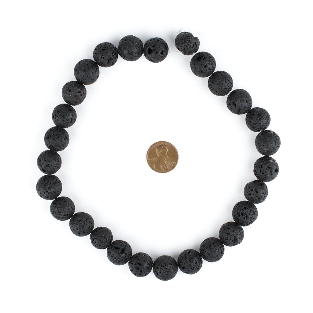 Black Volcanic Lava Beads (14mm) - The Bead Chest