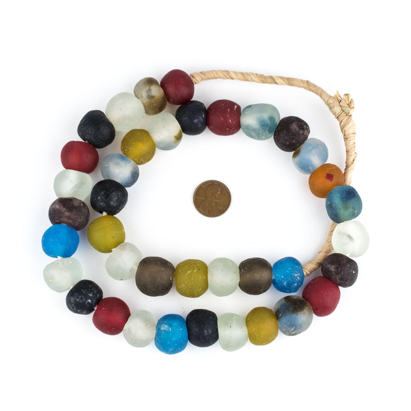 Multicolor Recycled Glass Beads (18mm) - The Bead Chest