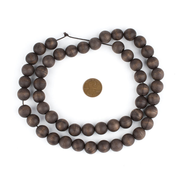 Vintage-Style Round Olive Wood Beads from Bethlehem (12mm)