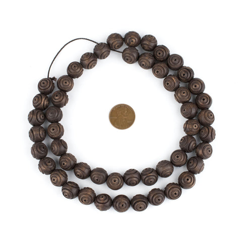 Carved Vintage-Style Round Olive Wood Beads from Bethlehem (12mm) - The Bead Chest