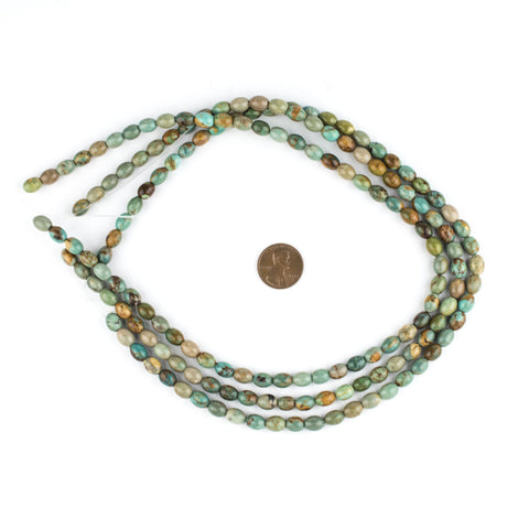 Green Turquoise Rice Beads (8x6mm) - The Bead Chest