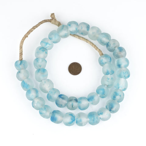 Image of Speckled Blue Recycled Glass Beads (18mm) - The Bead Chest