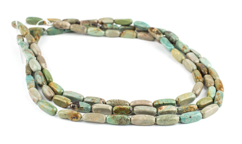 Green Rounded Rectangle Turquoise Beads (16x6mm) - The Bead Chest