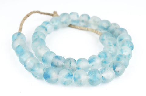 Speckled Blue Recycled Glass Beads (18mm) - The Bead Chest