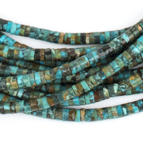 Cylindrical Turquoise Heishi Beads (5mm) - The Bead Chest