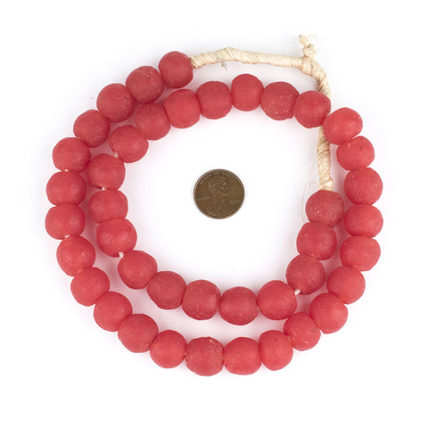Bright Red Recycled Glass Beads (14mm) - The Bead Chest