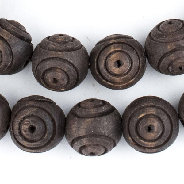 Vintage-Style Carved Round Olive Wood Beads from Bethlehem (16mm) - The Bead Chest