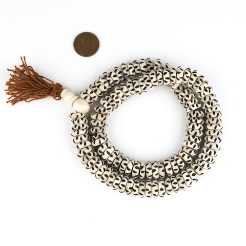 White Carved Disk Bone Mala Beads (13mm) - The Bead Chest