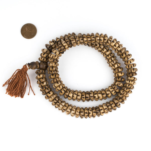Brown Carved Disk Bone Mala Beads (13mm)
