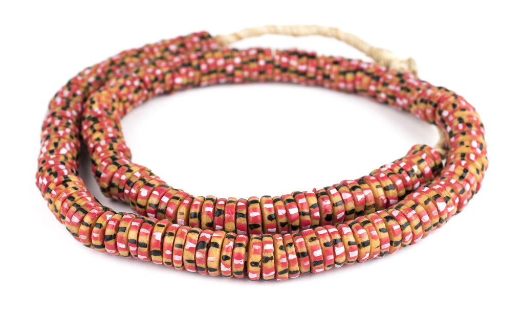 Autumn Medley Chevron Style Aja Krobo Beads (15mm) - The Bead Chest