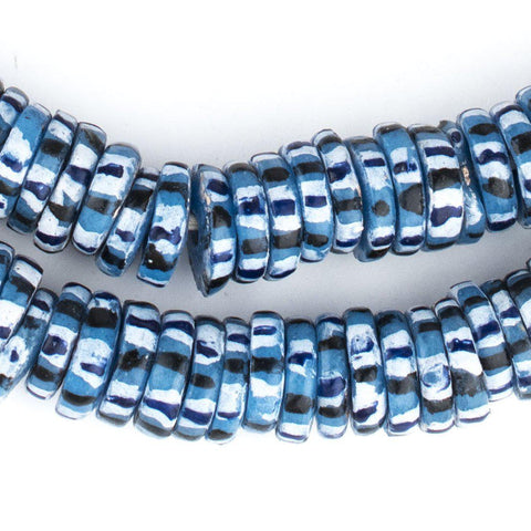 African Blue Chevron-Style Aja Krobo Beads (15mm) - The Bead Chest