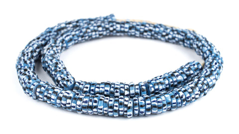 Image of African Blue Chevron-Style Aja Krobo Beads (15mm) - The Bead Chest