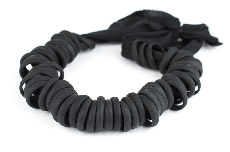 Black Annular Wound Dogon Glass Ring Beads (24mm) - The Bead Chest