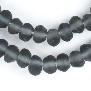 Charcoal Grey Rondelle Java Recycled Glass Beads (11mm) - The Bead Chest
