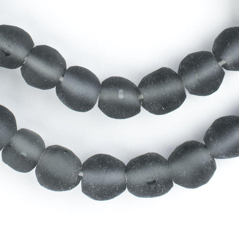 Charcoal Grey Round Java Recycled Glass Beads (11mm) - The Bead Chest
