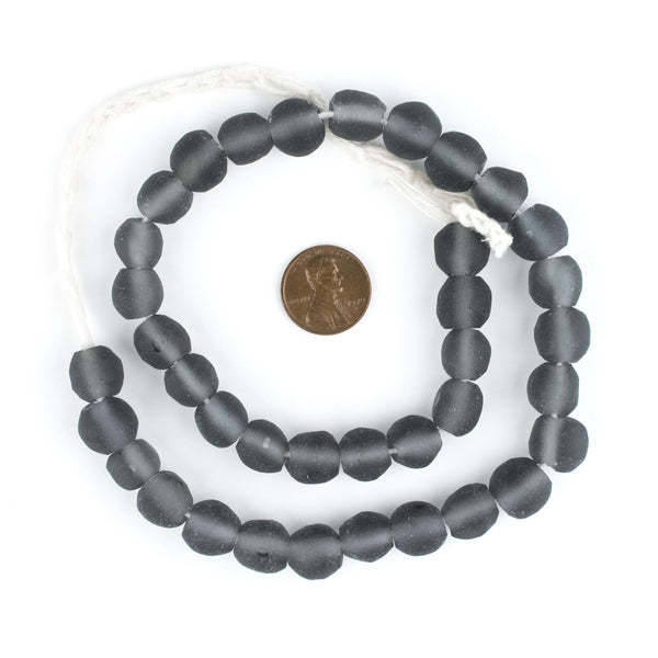 Charcoal Grey Round Java Recycled Glass Beads (11mm)