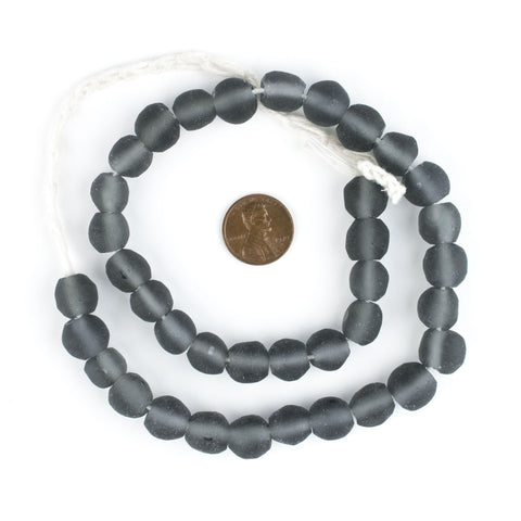 Image of Charcoal Grey Round Java Recycled Glass Beads (11mm) - The Bead Chest