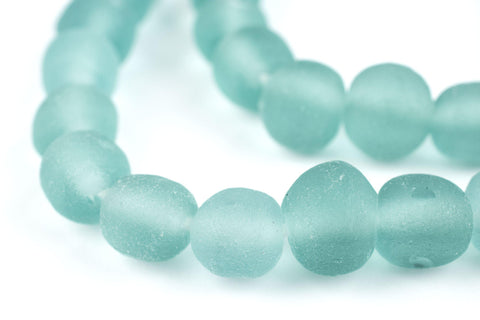 Clear Marine Round Java Recycled Glass Beads (11mm) - The Bead Chest