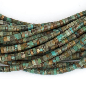 Earthy Green Cylindrical Heishi Turquoise Beads (4mm) - The Bead Chest