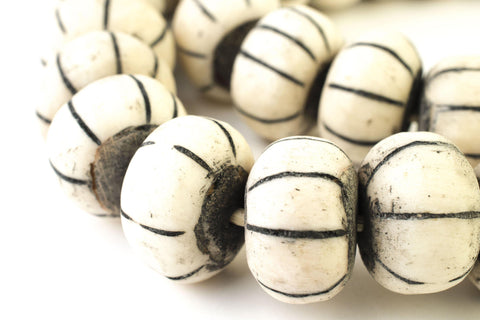 Dark Watermelon Carved Bone Beads (Large) - The Bead Chest