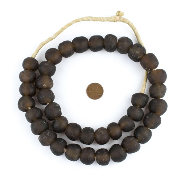 Dark Brown Recycled Glass Beads (18mm)