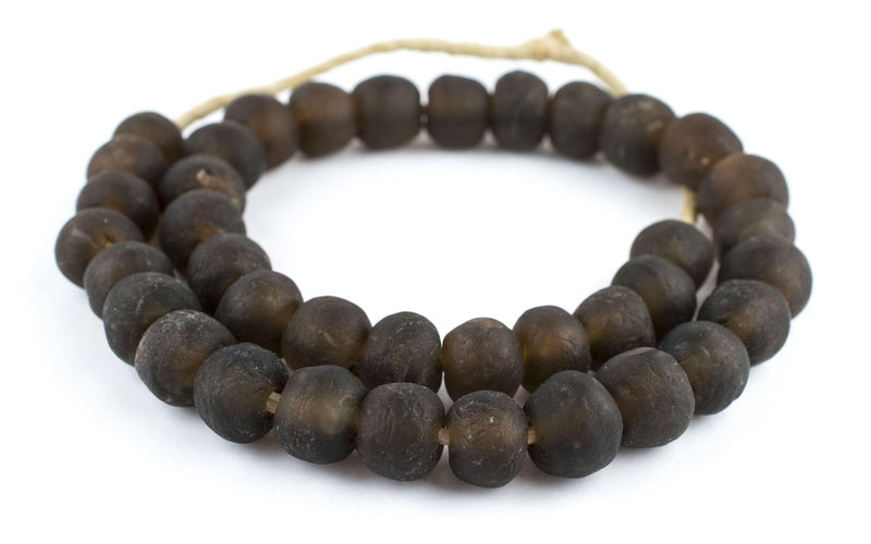 Dark Brown Recycled Glass Beads (18mm) - The Bead Chest