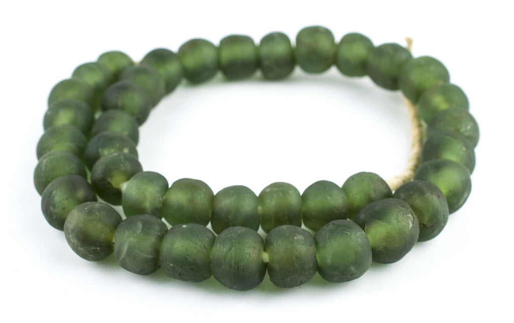 Asparagus Green Recycled Glass Beads (18mm) - The Bead Chest
