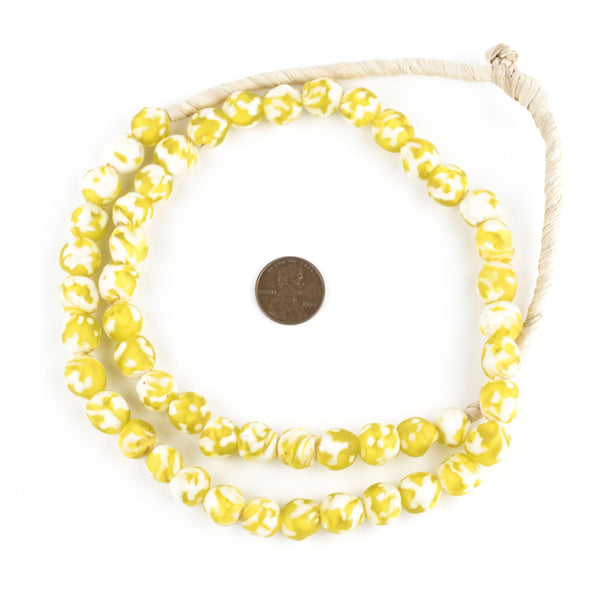 Sunflower Yellow Fused Recycled Glass Beads (11mm)