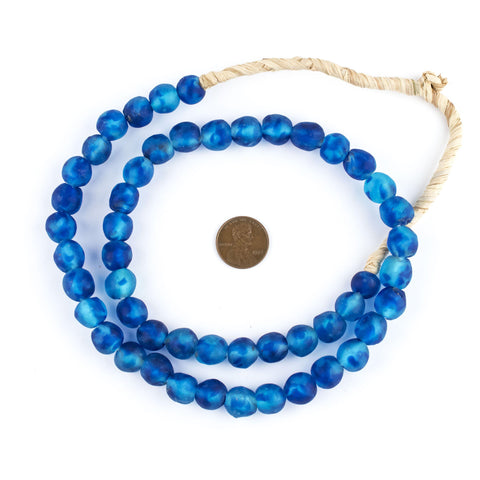 Image of Aqua Swirl Recycled Glass Beads (11mm) - The Bead Chest