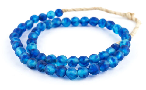 Aqua Swirl Recycled Glass Beads (11mm) - The Bead Chest