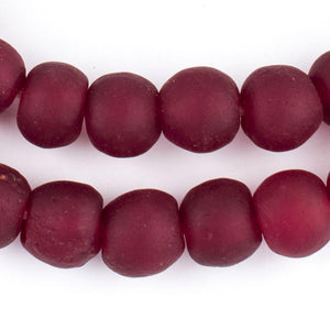 Deep Red Recycled Glass Beads (14mm) - The Bead Chest