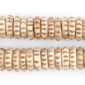 Beige Carved Disk Bone Mala Beads (13mm) - The Bead Chest