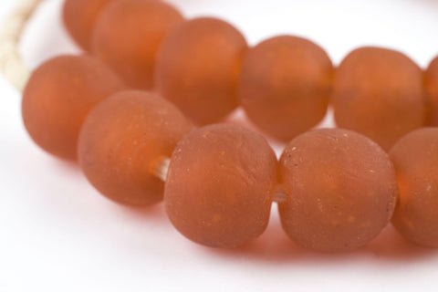 Orange Recycled Glass Beads (18mm) - The Bead Chest