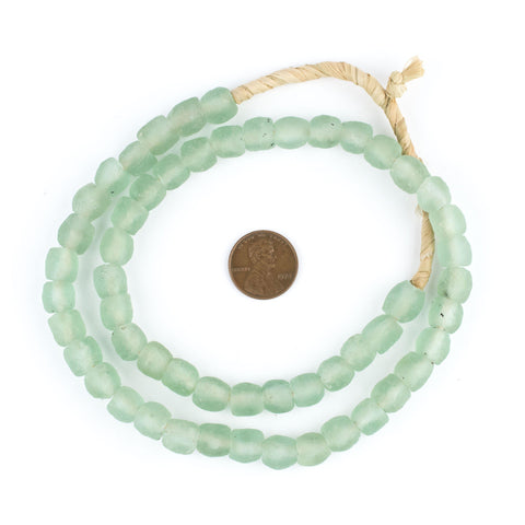 Green Aqua Recycled Glass Beads (9mm) - The Bead Chest