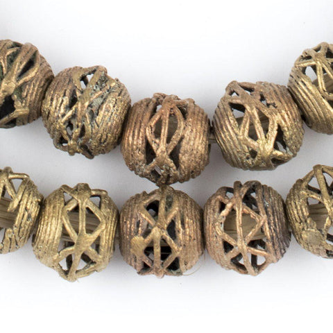 Image of Criss Cross Brass Filigree Globe Beads (14mm) - The Bead Chest