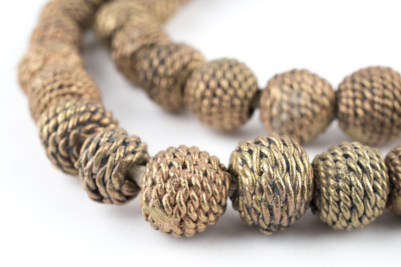 Woven Bronze Ghana Filigree Beads (12mm) - The Bead Chest