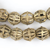 Caged Bicone Brass Filligree Beads (16mm)