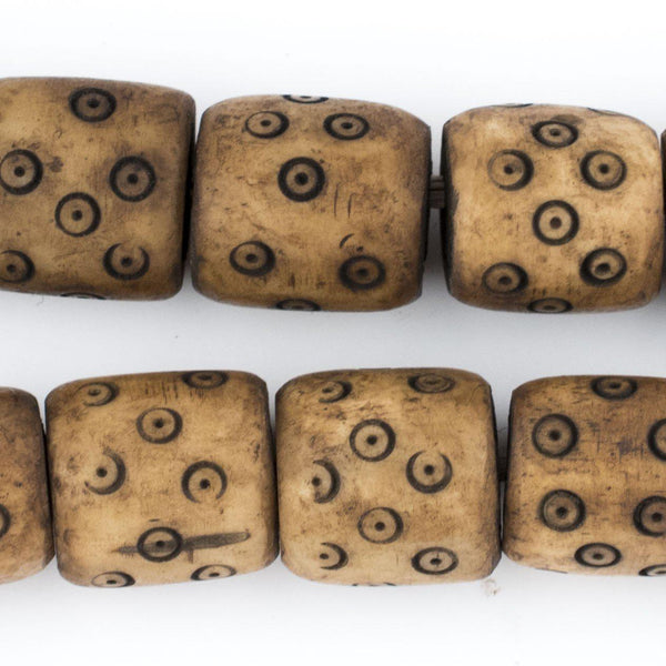 Carved Eye Brown Bone Beads (Barrel) - The Bead Chest
