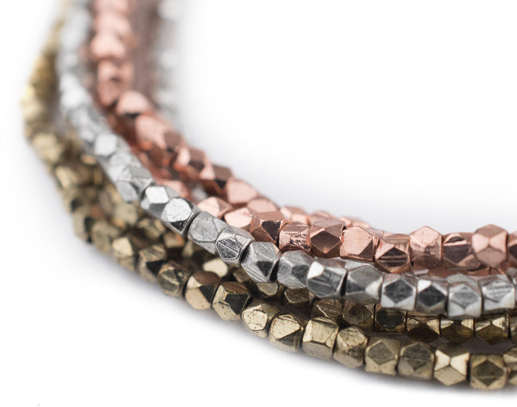 3 Strand Bundle: Diamond Cut Beads 2mm (Silver, Brass, Copper) - The Bead Chest