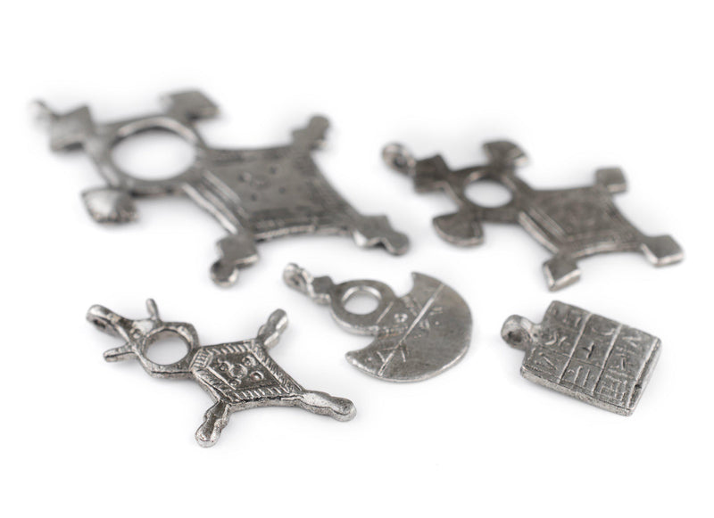 5 Pack: Silver Tuareg Tribal Pendants - The Bead Chest