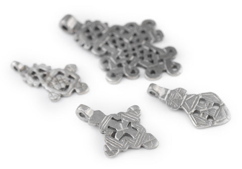 4 Pack: Ethiopian Silver Coptic Cross Pendants - The Bead Chest