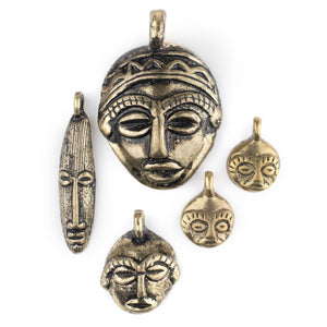 5 Pendant Bundle: African Brass Masks - The Bead Chest