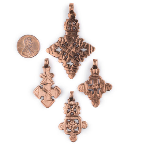 Image of 4 Pack: Ethiopian Copper Coptic Cross Pendants - The Bead Chest