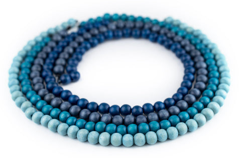4 Strand Bundle: Round Blue Natural Wood Beads (8mm) - The Bead Chest