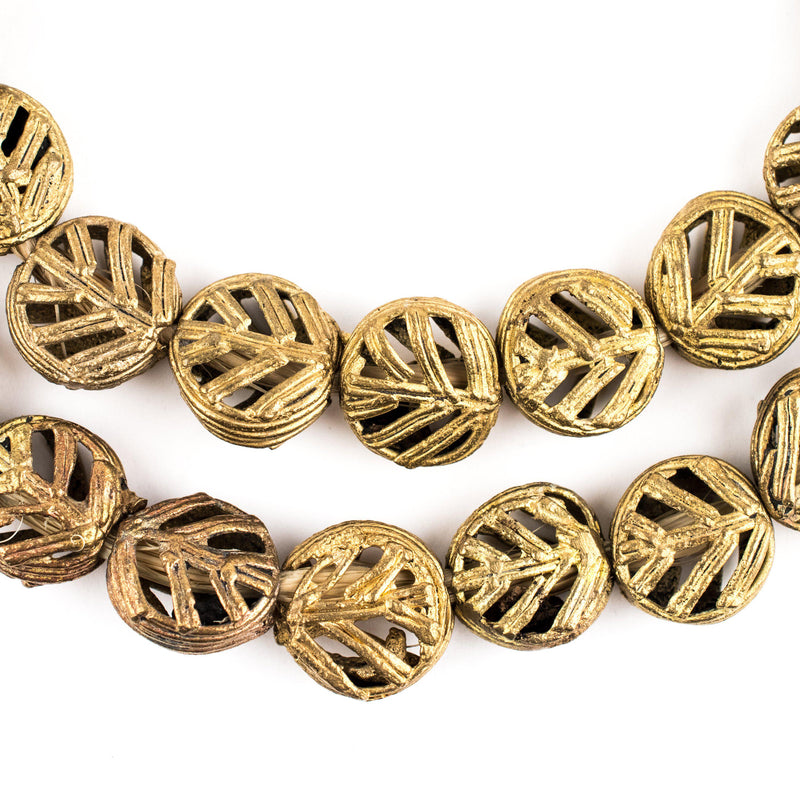 Circular Leaf Brass Filigree Beads (15mm) - The Bead Chest