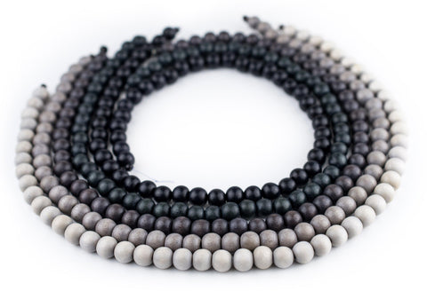 5 Strand Bundle: Grey Natural Wood Beads (8mm) - The Bead Chest