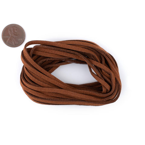 3mm Flat Tan Brown Faux Suede Cord (15ft)