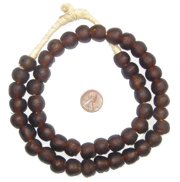 Root Beer Brown Recycled Glass Beads (14mm)