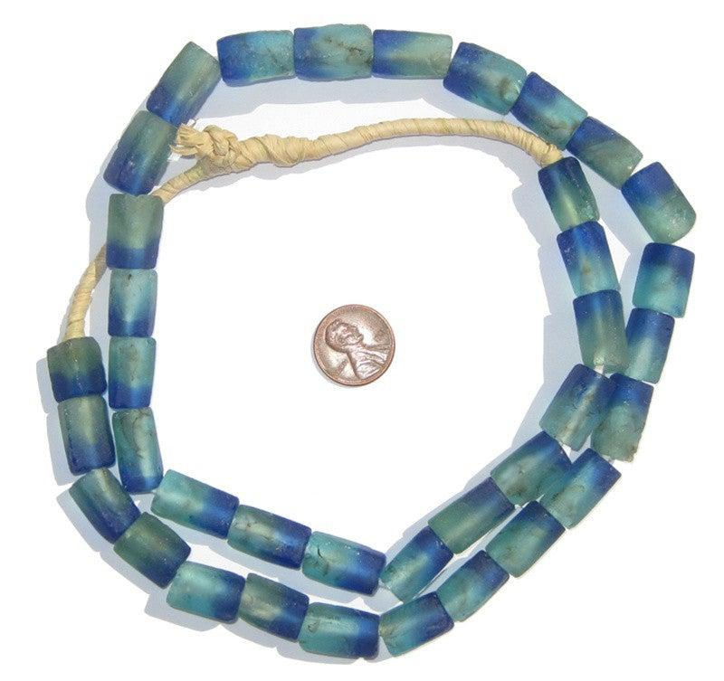 Seaside Rectangular Recycled Glass Beads 16mm - The Bead Chest